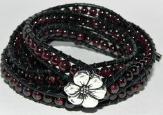 Bleeding Hearts, Garnet and Leather Wrap Bracelet by Secretvixen.deviantart.com on @DeviantArt