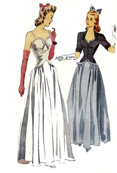 STUNNING 1940s Evening Gown and Jacket Vintage Sewing Pattern Simplicity 4212 Size 14 Bust 32 UNUSED FF