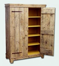 A cabinet from reclaimed wood. For Ladies Restroom. Pallet doors replace current doors. Stain the rest of cabinet with gel stain.