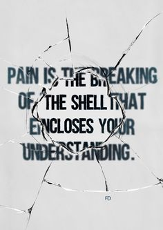 Pain is the breaking of the shell that encloses your understanding. (Khalil Gibran)