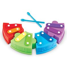 Count the keys 1-8, play tunes by color, or design your own way of making music - everything is fun with this rainbow xylophone! Manufactured by Learning Resources.