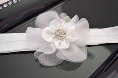 White Baptism Christening Headband Custom by AnalisaRoseBoutique, $11.00