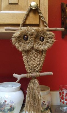 Totally Awesome Vintage Early 1970's Woven Macrame Owl Very Retro and Groovy by MarksVintageShoppe, $17.00