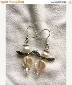 Christmas Pearl Angel Earrings  Gift Idea  by kitscreations