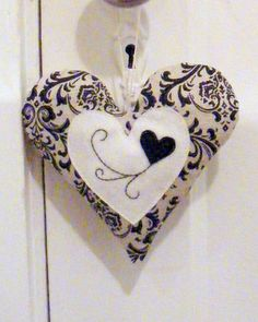 Black and white heart ornament by Linohandmade on Etsy, $16.00