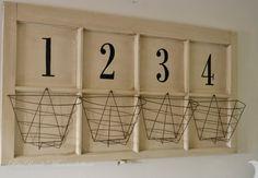 Mammabellarte vintage window, white, numbers, wire baskets