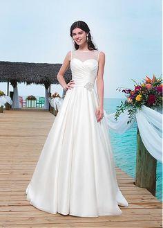 ELEGANT SATIN A-LINE BATEAU NECKLINE NATURAL WAISTLINE WEDDING DRESS IVORY WHITE LACE BRIDAL GOWN HANDMADE CUSTOM MADE