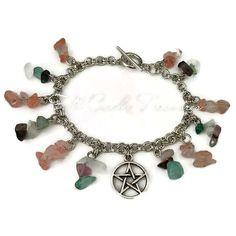 Silver Pentagram Bracelet  Fluorite Quartz by FullCircleTreasures