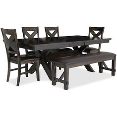 CROWN MARK HAVANA 4 CHAIR U0026 BENCH DINING SET   HOUSTON DINING ROOM TABLE  SETS |