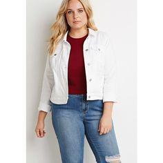 Forever 21 Plus Clean Wash Denim Jacket ($28) ❤ liked on Polyvore