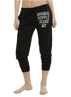 """<p>Comfy girls pajama pants from<i>American Horror Story</i>with """"Normal People Scare Me"""" design on left leg and an elastic drawstring waist.</p><ul><li style=""""list-style-position: inside !important; list-style-type: disc !important"""">100% cotton</li><li style=""""list-style-position: inside !important; list-style-type: disc !important"""">Wash cold; dry low</li><li style=""""list-style-position: inside !important; list-style-type: disc !important"""">Imported</li><li style=""""list-style-..."""