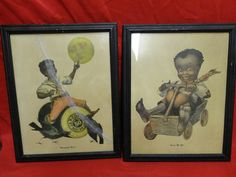 Pair of Framed J & P Coats Thread Company's Vintage Black Americana Advertising