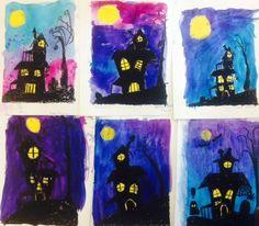 Art Teacher in LA   K-6th grade art lessons Sppoky Houses, Watercolor, oil pastel, Elementary Art, Middle School Art, Halloween Art, Fall Art, Www.ArtteacherinLA.com