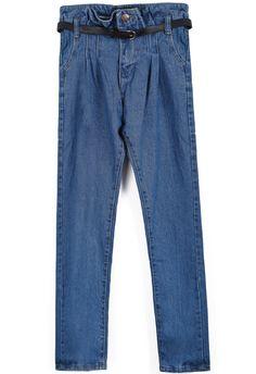 Blue High Waist Belt Denim Pant US$24.26