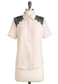 Monte Carlo Chic Top - Mid-length, Black, Buttons, Lace, Short Sleeves, Cream, Solid, Work