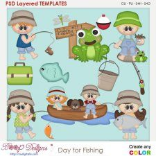 Day For Fishing Layered Element Templates cudigitals.com cu commercial scrap scrapbook digital graphics#digitalscrapbooking #photoshop #digiscrap