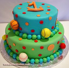 Like the colors, use of dots and the fondant balls.  Replace the one with a nice one and the sports balls too.