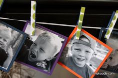 Clothespin Picture Banner- for the classroom: each kid brings in a photo of themsleves or take pictures of the kids throughout the year
