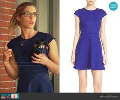 Felicity's blue cap-sleeve dress on Arrow.  Outfit Details: https://wornontv.net/68395/ #Arrow