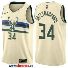 944e6f253 Men s Nike Milwaukee Bucks  34 Giannis Antetokounmpo Cream NBA Swingman  City Edition Jersey Mike Bibby
