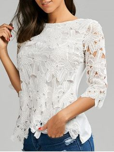 Crochet Lace Panel Top - White - One Size Fashion Now, Fashion Over 50, Fashion Dresses, Beautiful Blouses, Beautiful Outfits, Churidhar Designs, Burgundy Fashion, Lace Tops, Lace Blouses