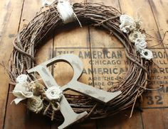Perfect gift for ANYONE! Distressed  Painted  Monogram Wreath Romantic farmstyle Linen and burlap wreath.