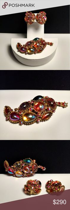 ✴️Vtg. Fantastic Rare HAR Hargo Co. of NY Parure Vtg. Fantastic Rare HAR Hargo Company of NY Parure. Figural leaf brooch and matching clip earrings with dragons breath/faux opal art glass cabochons, confetti cabochons, and a bunch of red/orange aurora borealis rhinestones to fill in any empty spots. Truly stunning. Some wear to foil and slight discoloration to gold-tone setting as seen in final photo. Good vintage condition. Amazing Vintage Style. Vintage Jewelry Brooches