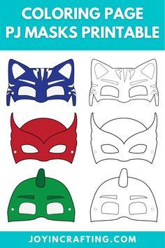 Pj Masks Printable, Printable Activities For Kids, Pj Masks Coloring Pages, Coloring Pages For Kids, Mascaras Pj Masks, Super Hero Masks, Festa Pj Masks, Gugu, Kids Canvas Art