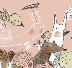 De el Libro para Matilda. An illustration but I love these colours for a quilt - that peachy pink and pale olive with soft browns and greys