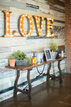 Marquee 'love' sign.