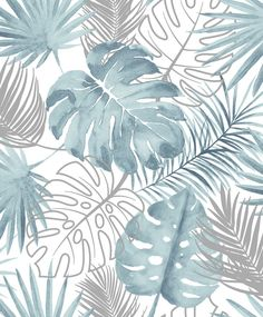 Tropical Leaves by Albany - Blue - Wallpaper : Wallpaper Direct