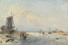 Johan Barthold Jongkind - Winterlandschap met molens en een bevroren vaart (1871) 2