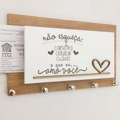 Porta Chaves e Cartas Momento CASA Amo Você Amadeirado