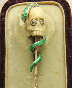 Why is jewelry from United Kingdom so COOL??  Always!  A Magnificent Georgian Memento Mori Skull Snake Stick Pin Circa 1800'S | eBay