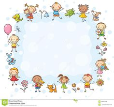 Buy Frame with Children and Flowers by katya_dav on GraphicRiver. Rectangular frame with kids and flowers, no gradients Page Borders Design, Border Design, Borders For Paper, Borders And Frames, Easy Drawings For Kids, Drawing For Kids, Owl Theme Classroom, Kids Background, Cute Frames