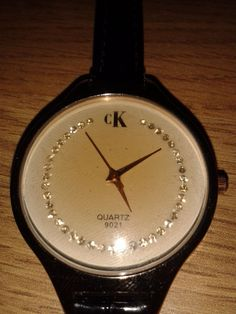 CK QUARTZ WATER RESIST DIAMANTE FACE DIAL LEATHER STRAP WATCH