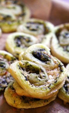 Cheese, pesto, and puff pastry join forces in these pesto palmiers to make an easy appetizer that everyone will love.