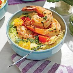 Pan-Seared Shrimp with Chive Grits and Salsa Verde | MyRecipes.com