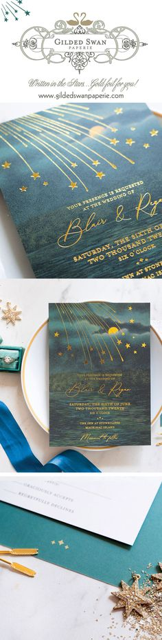 Gilded Swan Paperie is the source for vintage inspired wedding invitations. Featuring Art Deco wedding invitations, Art Nouveau wedding invitations, destination wedding invitations and so much more. Vintage wedding stationery never looked so unique! Wedding Invitation Trends, Wedding Themes, Wedding Stationery, Star Wedding, Dream Wedding, Wedding Day, Vintage Romance, Marry You, Under The Stars