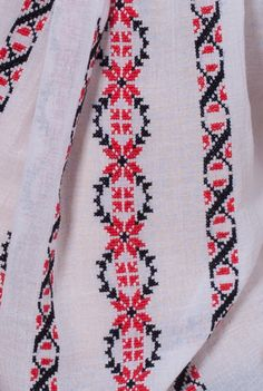 Ie traditionala lucrata manual cu broderie negru si rosu LIL009 de la Ama Fashion Embroidery Motifs, Beaded Embroidery, Cross Stitch Embroidery, Palestinian Embroidery, Hand Embroidery Tutorial, Cross Stitch Borders, Filet Crochet, Floral Tie, Bohemian Rug