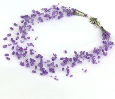 Purple Necklace. Wedding Necklace. Beadwork.  by RubatiJewelry, $32.00