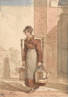 John Augustus Atkinson, 1775–1831, A Milkmaid, undated, Pen and brown ink, watercolor and graphite on moderately thick, slightly textured, beige wove paper, Yale Center for British Art, Paul Mellon Collection recto