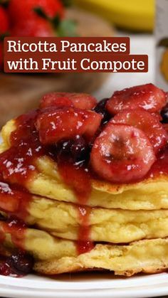 Best Breakfast Recipes, Breakfast Bake, Breakfast Dishes, Breakfast Ideas, Fruit Pancakes, Crepes And Waffles, Ricotta Pancakes, Pancake Ideas, Fruit Compote
