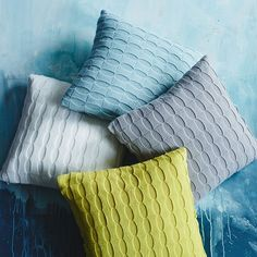 Blue + Gray + Yellow! — Ribbon Knitted Pillows
