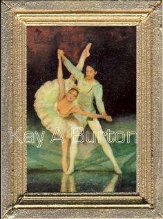 A dolls house miniature painting depicting two ballet dancers performing on stage. A lovely painting for a dolls house bedroom or sitting room. Miniature Paintings, Ballet Dancers, Dollhouse Miniatures, Stage, Dolls, Bedroom, Artist, Pictures, Baby Dolls