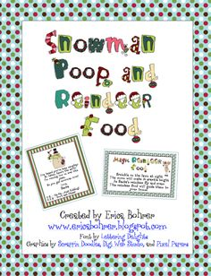 Classroom Freebies: Snowman Poop & Reindeer Food Freebies