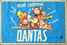 "QANTAS Merry CHRISTMAS Original Vintage Airline Travel Poster ""Mele Kalikimaka!"""