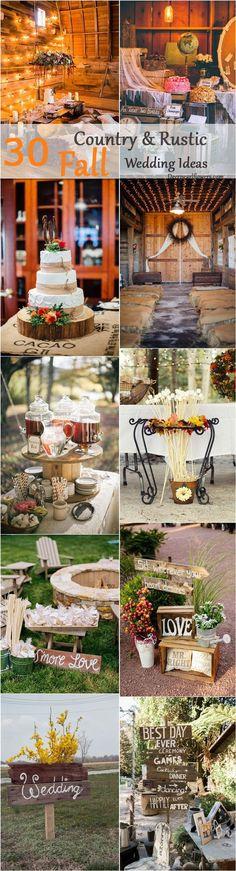 Rustic country wedding ideas - fall wedding decor ideas / http://www.deerpearlflowers.com/country-rustic-fall-wedding-theme-ideas/