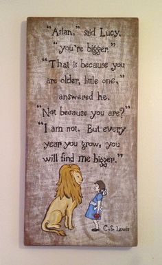Reclaimed Wood Narnia Art  Aslan and Lucy by HolyCreative on Etsy
