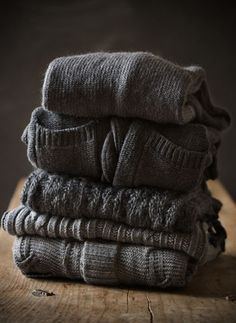 There's nothing quite like a big pile of grey wool sweaters.